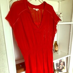 Athleta Red sheer beach cover up Size S